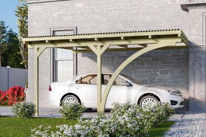 carport adossé leika en bois d'épicéa