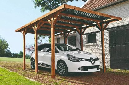 carport en bois de pin benito à toit en polycarbonate pour une voiture