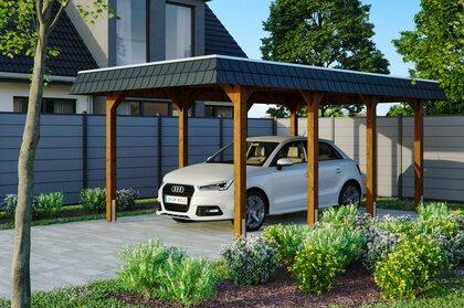 carport bois britanica à toit plat et pour une voiture