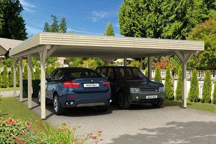 carport bois castello duo à toit plat pour 2 voitures