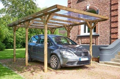 carport bois pinetto à toit en pvc pour 1 voiture